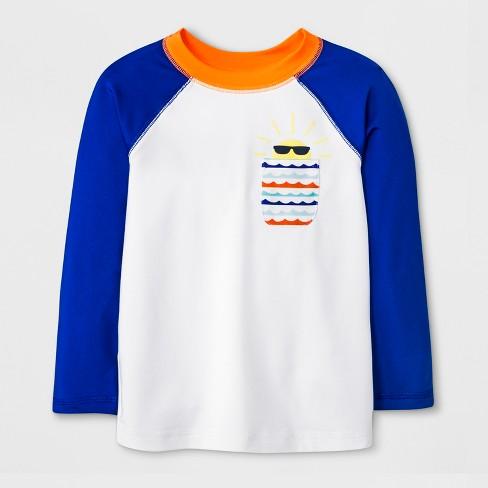 d106ce4b48081 Toddler Boys' Long Sleeve Rash Guard with Pocket - Cat & Jack™ Blue/White