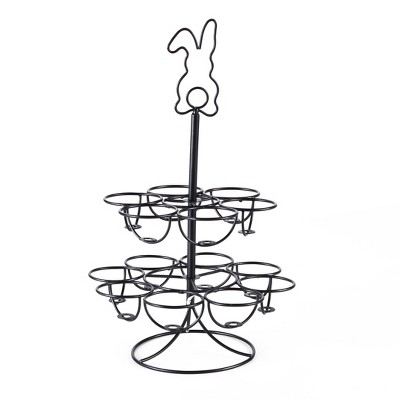 Lakeside Whimsical 2-Tiered Egg Holder and Tabletop Centerpiece with Bunny Silhouette