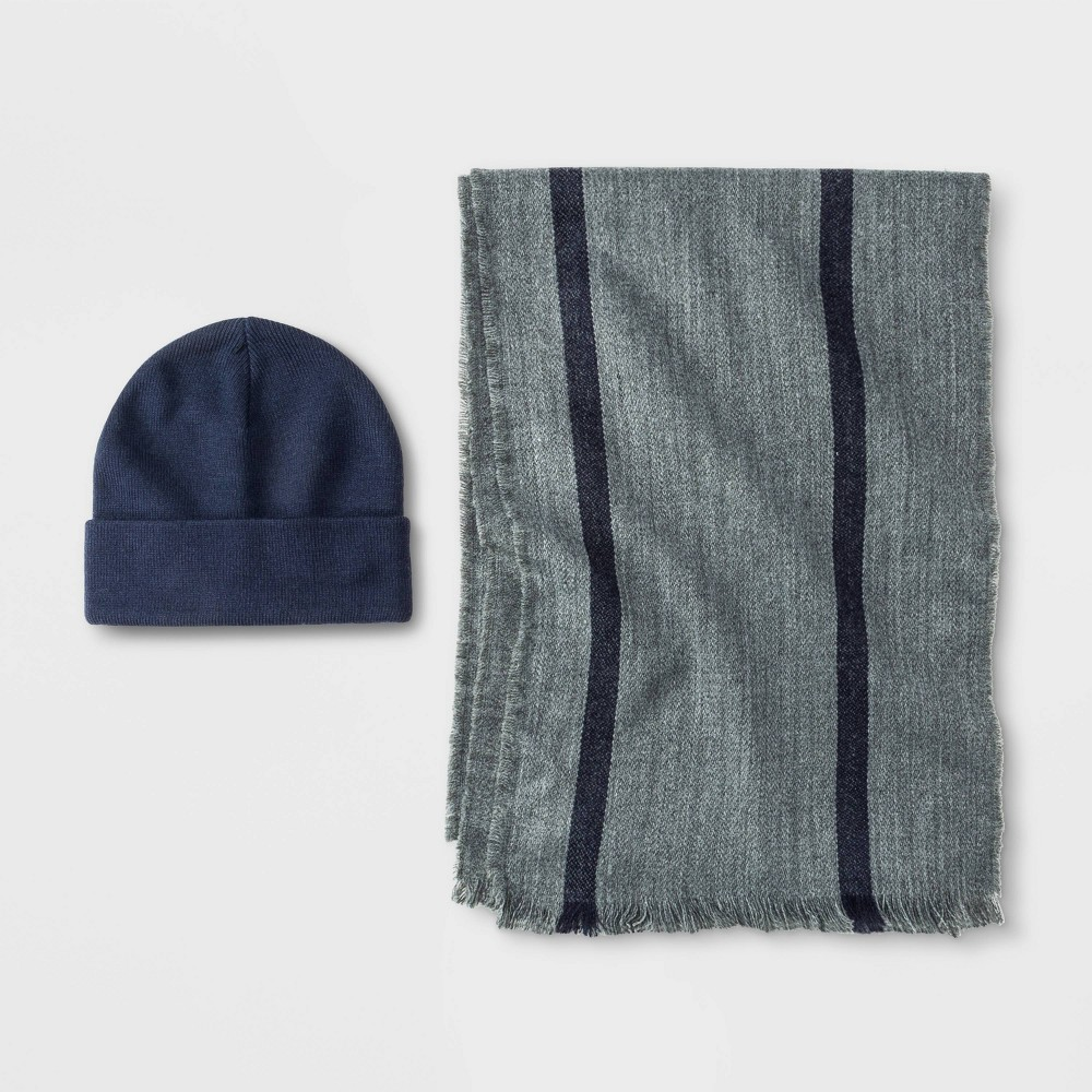Image of Men's Vertical Striped Scarf + Beanie Set - Goodfellow & Co Blue/Gray One Size, Men's