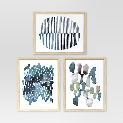 Framed Watercolor Blue Abstracts 16 x 20 3pk - Project 62™ - image 1 of 4