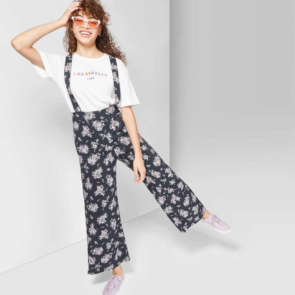 Women's Floral Print Sleeveless Strappy Suspender Jumpsuit - Wild Fable Gray Xxl