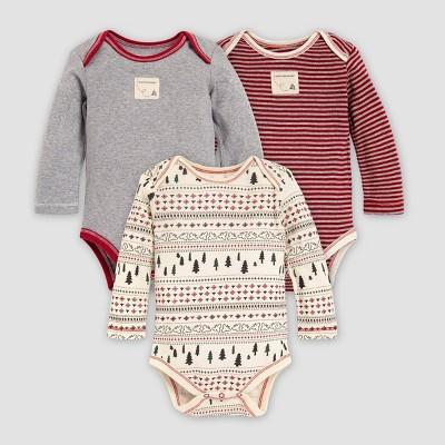 Burt's Bees Baby® Baby Organic Cotton 3pk Sleigh Ride Fair Isle Bodysuits - Red/Gray/White 0-3M