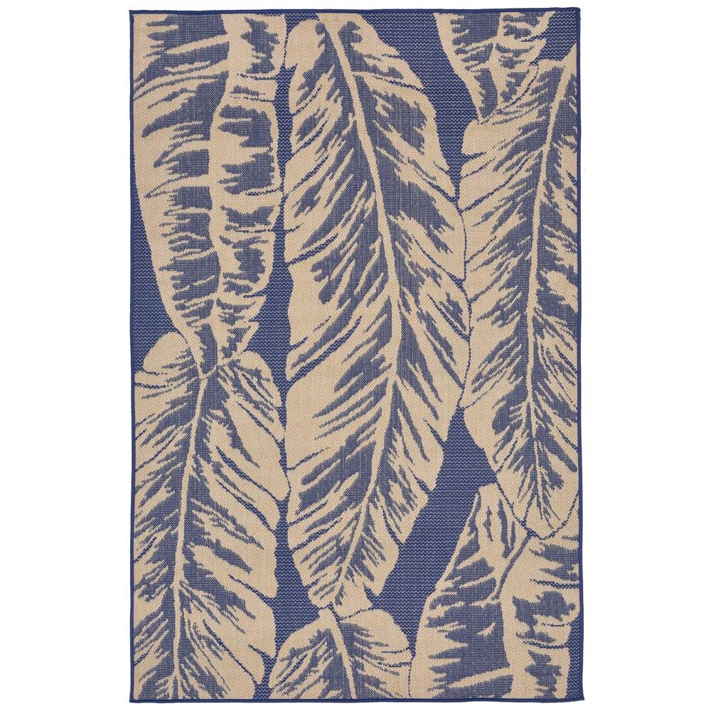 """Image of """"4'10""""""""X7'6"""""""" Leaf Area Rug Blue - Liora Manne"""""""