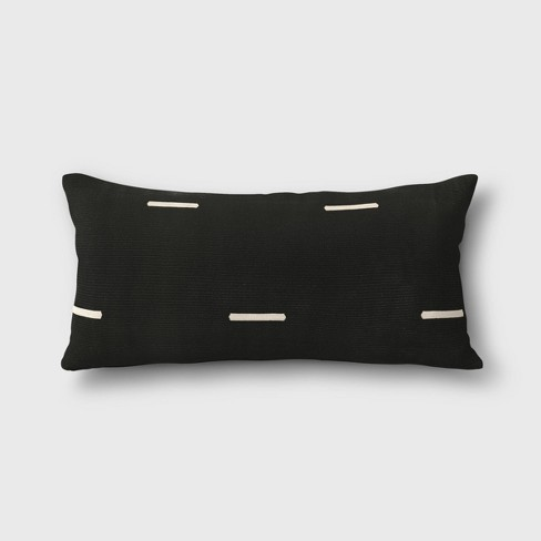 Woven Stripe Outdoor Lumbar Decorative Pillow Black - Project 62™ - image 1 of 1