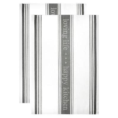 Loving Life Jacquard Dish Towel Set Slate (20 X30 )- Mu Kitchen