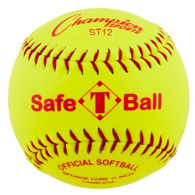 Champion Safety Softball, 12 Inches, Yellow, pk of 12