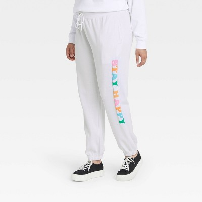 Women's Stay Happy Graphic Jogger Pants - White