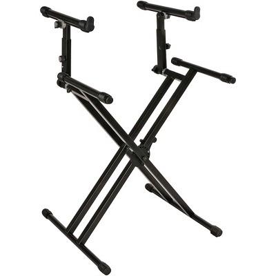 Quik-Lok Double-Tier Double-Braced Keyboard Stand