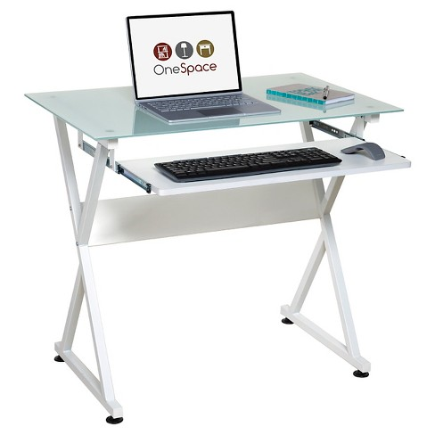 Onespace 50 Jn1201 Ultramodern Glass Computer Desk With Pull Out