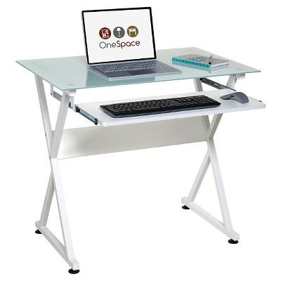 Ultramodern Glass Computer Desk, Pull Out Keyboard, Steel Frame   OneSpace