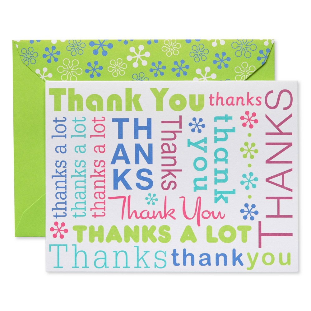 Image of 50ct Script Thank You Cards and Lime Green Envelopes, White