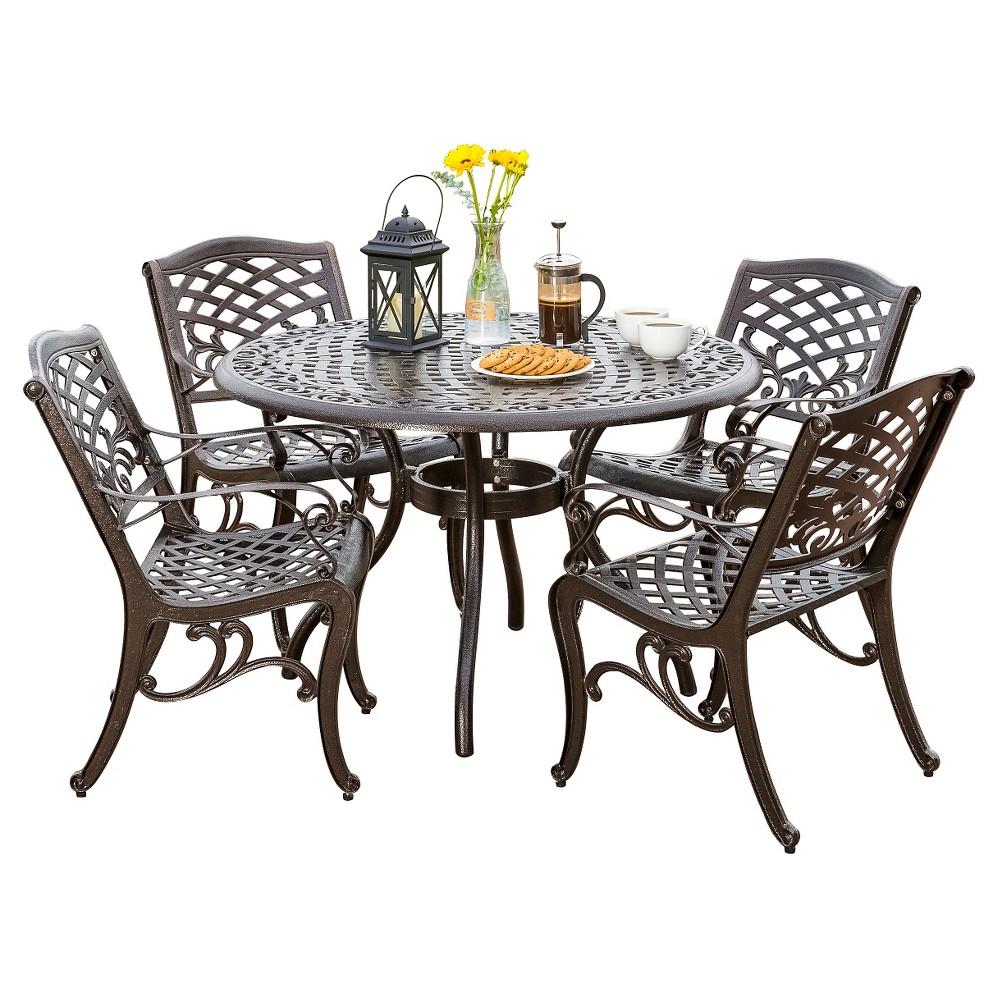 Hallandale Sarasota 5pc Cast Aluminum Patio Dining Set - Bronze - Christopher Knight Home, Bronze Brown
