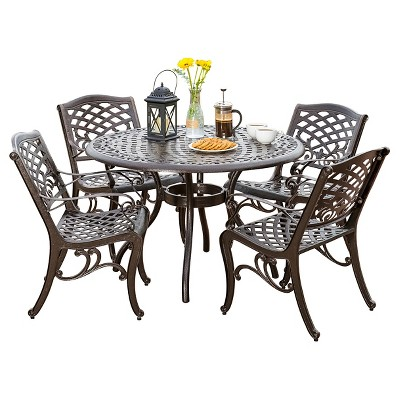 Perfect Hallandale Sarasota 5pc Cast Aluminum Patio Dining Set   Bronze    Christopher Knight Home