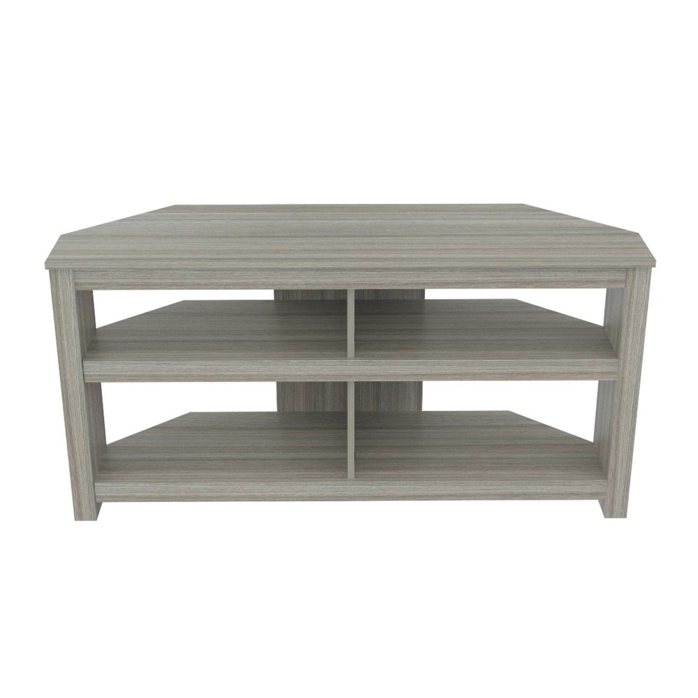 TV Stand Corner Smoke Oak - Inval, Gray TV Stand by Inval finished in a rich  Smoke Oak  laminates in durable melamine which is stain, heat and scratch resistant. This modern designed TV stand has a very functional contemporary shape to accent your home décor. It can accommodate up to a 60  flat-screen TV. The open shelf design allows you to showcase your electronics and maintain your media accessories organized. Color: Gray.
