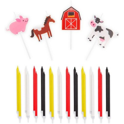 Blue Panda 28-Pack Farm Animal Cake Topper with Thin Tall Birthday Candles 5.5-Inch in Holders