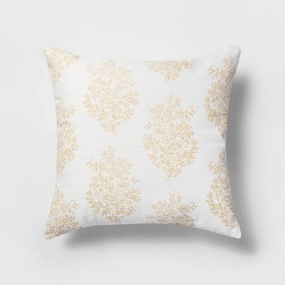 Square Block Print Paisley Pillow White/Yellow - Threshold™