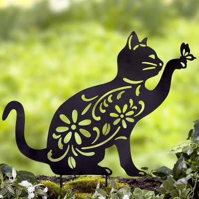 Lakeside Cat Silhouette Stake for Yards, Gardens - Outdoor Shadow Decoration