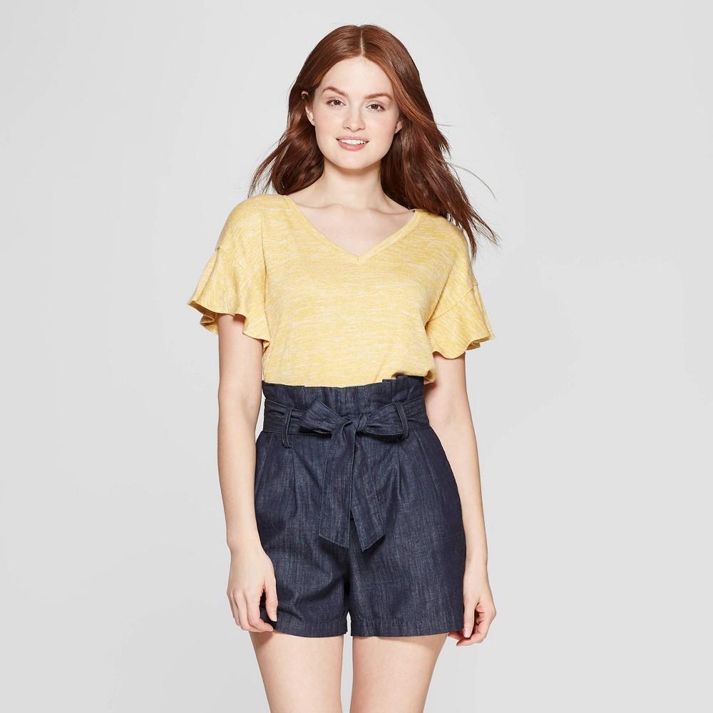 Women's Short Sleeve Ruffle T-Shirt - A New Day Yellow XL