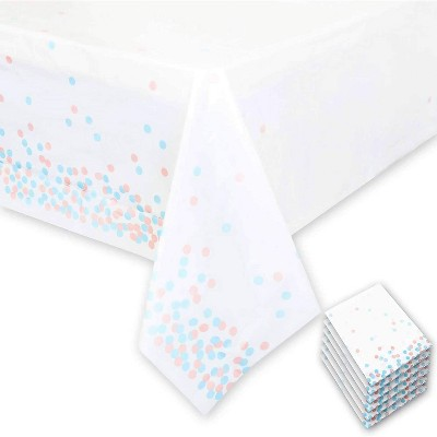 Sparkle and Bash 6 Pack Disposable Plastic Table Covers with White Confetti for Gender Reveal 54 x 108 In