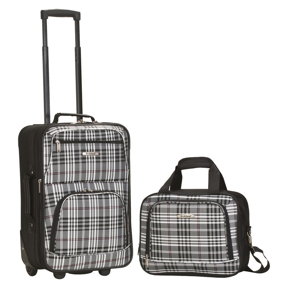 Rockland Rio 2pc Carry On Luggage Set Black Cross