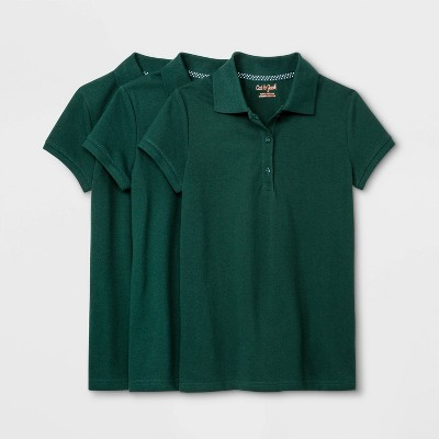 Girls' 3pk Short Sleeve Stretch Pique Uniform Polo Shirt - Cat & Jack™ Green