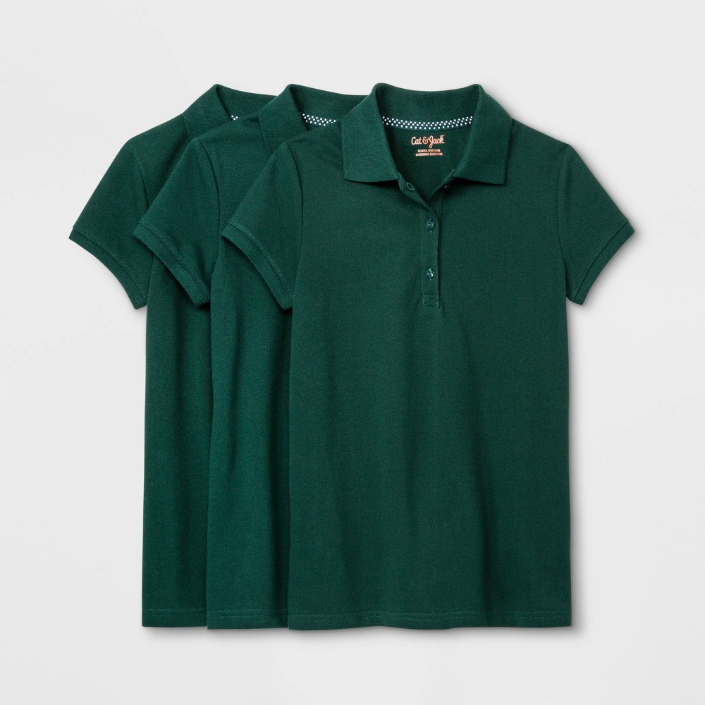Girls 39 3pk Short Sleeve Stretch Pique Uniform Polo Shirt Cat 38 Jack 8482 Green Xs