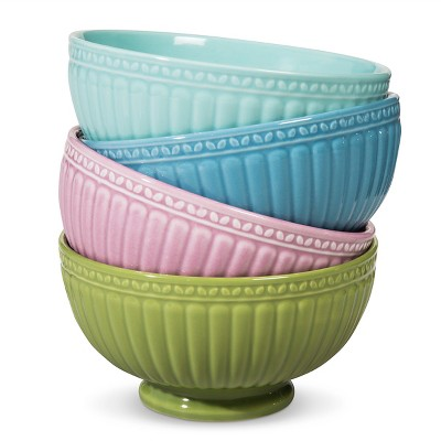 Camille Assorted Cereal Bowl Set Solid Multicolored 18oz 4pk