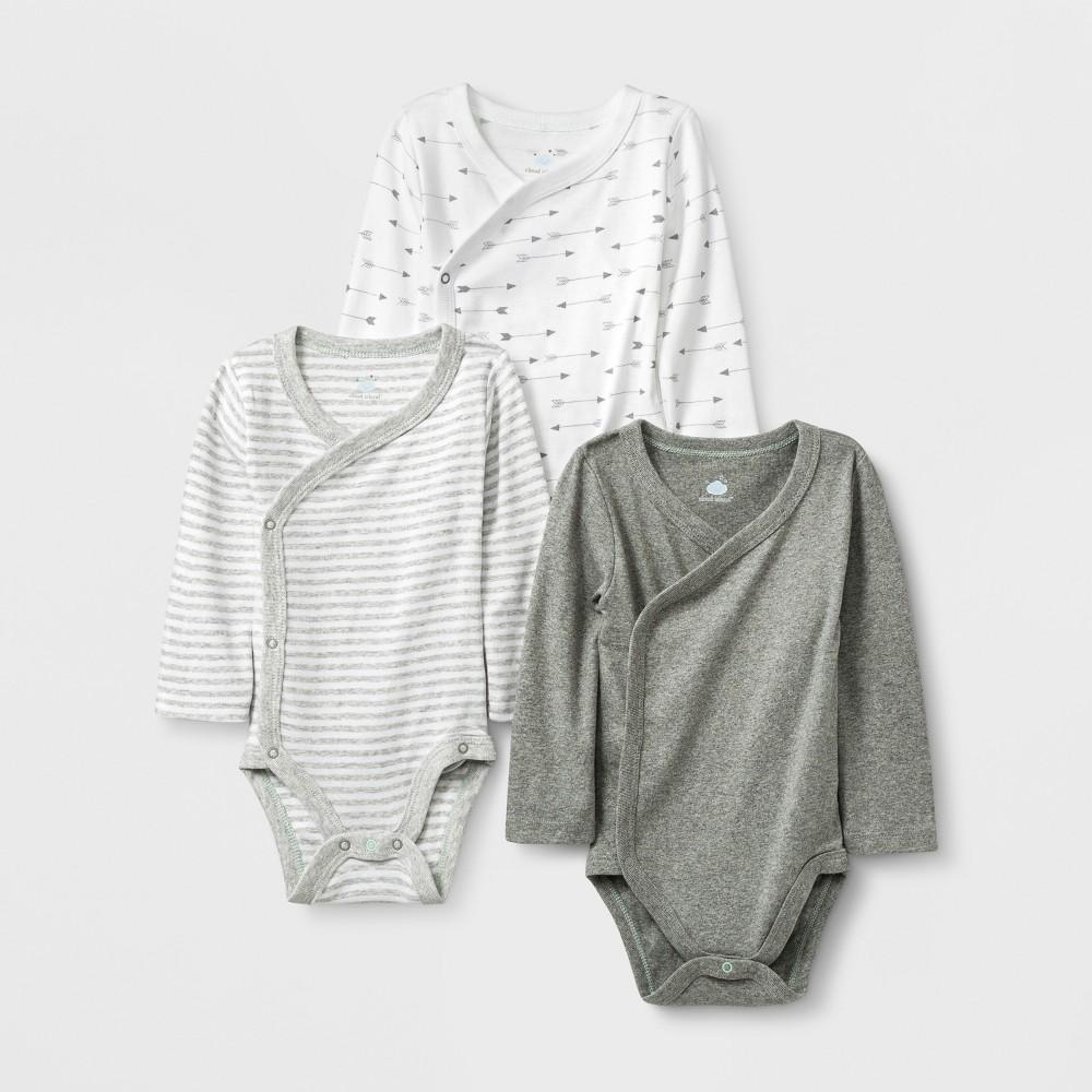 Baby 3pk Side Snap Bodysuits - Cloud Island 0-3M, Infant Unisex, Multicolored