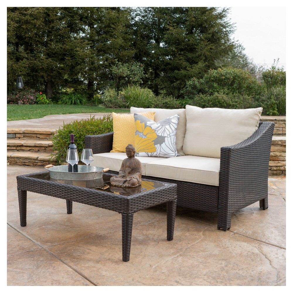 Antibes 2pc Wicker Loveseat And Table Brown Christopher Knight Home