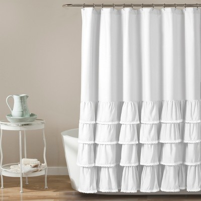 72 x72  Ella Ruffle Detailed Shower Curtain White - Lush Decor®