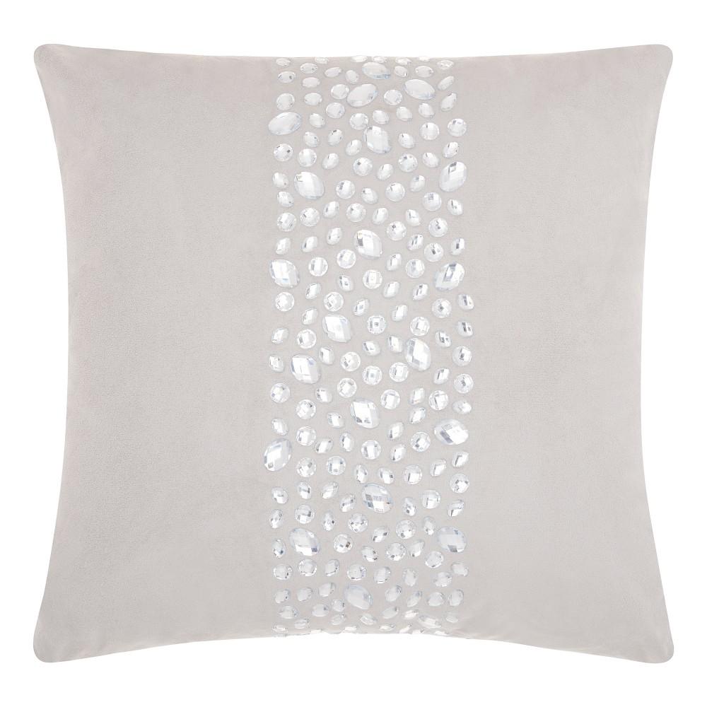 Silver Gray Mosaic Throw Pillow - Mina Victory