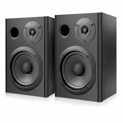 Pyle PBKSP52 Desktop Bluetooth 400 Watt Book Shelf Home Stereo Speaker System Pair with 1 In Dome Tweeter Drivers and Engineered Wood Exterior, Black