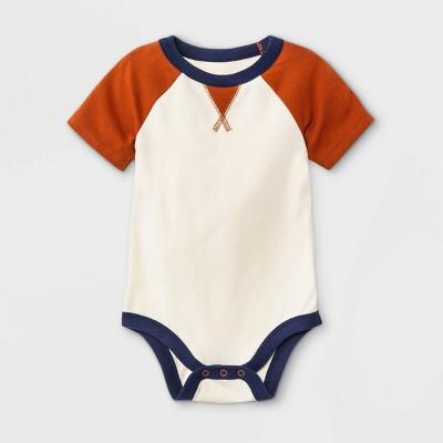 Baby Boys' Raglan Jersey Short Sleeve Bodysuit - Cat & Jack™ Cream 0-3M