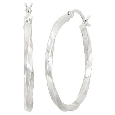 Sterling Silver Wide High Polish Twisted Hoop Earrings
