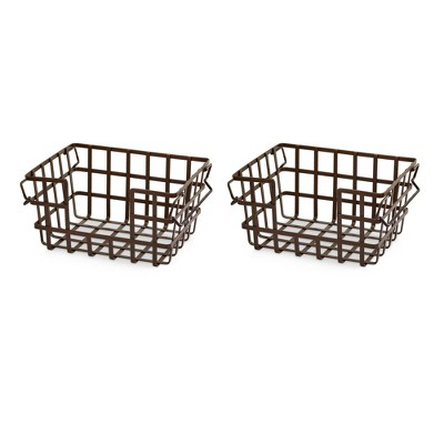 Iron Stacking & Nesting Storage Baskets Bronze 2pc - Seville Classics