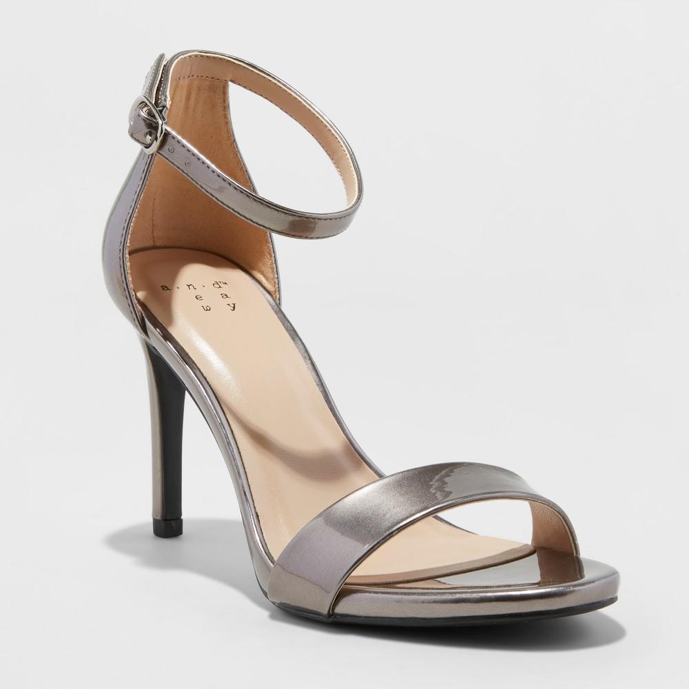 Women's Myla Faux Leather Metallic Stiletto Pump Heel Sandal - A New Day Pewter 7.5, Silver