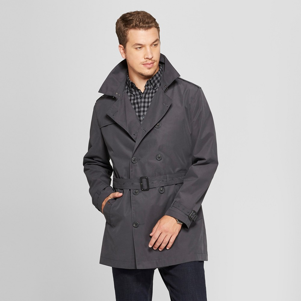 Men's Peached Trench Coat - Goodfellow & Co Zodiac Night L, Gray