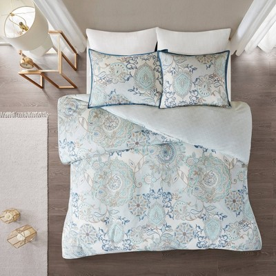 3pc Lina Cotton Printed Reversible Duvet Cover Set Blue