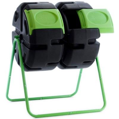 FCMP Outdoor HOTFROG 37 Gallon Plastic Dual Body Rotating Tumbling Composter Bin