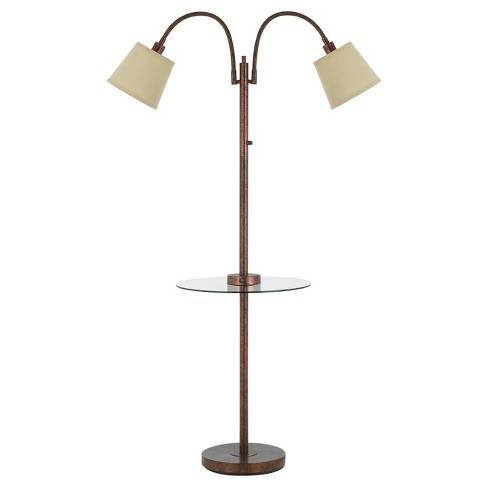 40w 3 Way Gail metal Double Gooseneck Floor Lamp With glass Tray Table Rust (Includes Energy Efficient Light Bulb) - Cal Lighting - image 1 of 1