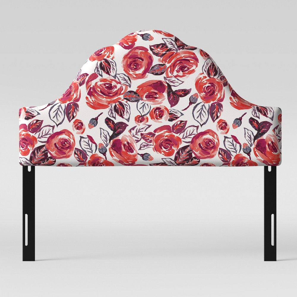 California King Zinnia Arched Headboard Rose Floral - Opalhouse