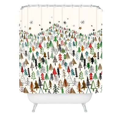 Ninola Design Christmas Pines Forest Shower Curtain Red/Green - Deny Designs