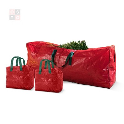 OSTO 3-Pack Artificial Tree Storage Bag and 2 Garland Bags; Christmas Tree Bag for Trees of 9 ft. Tall; Waterproof, Dual Zipper, Carry Handles