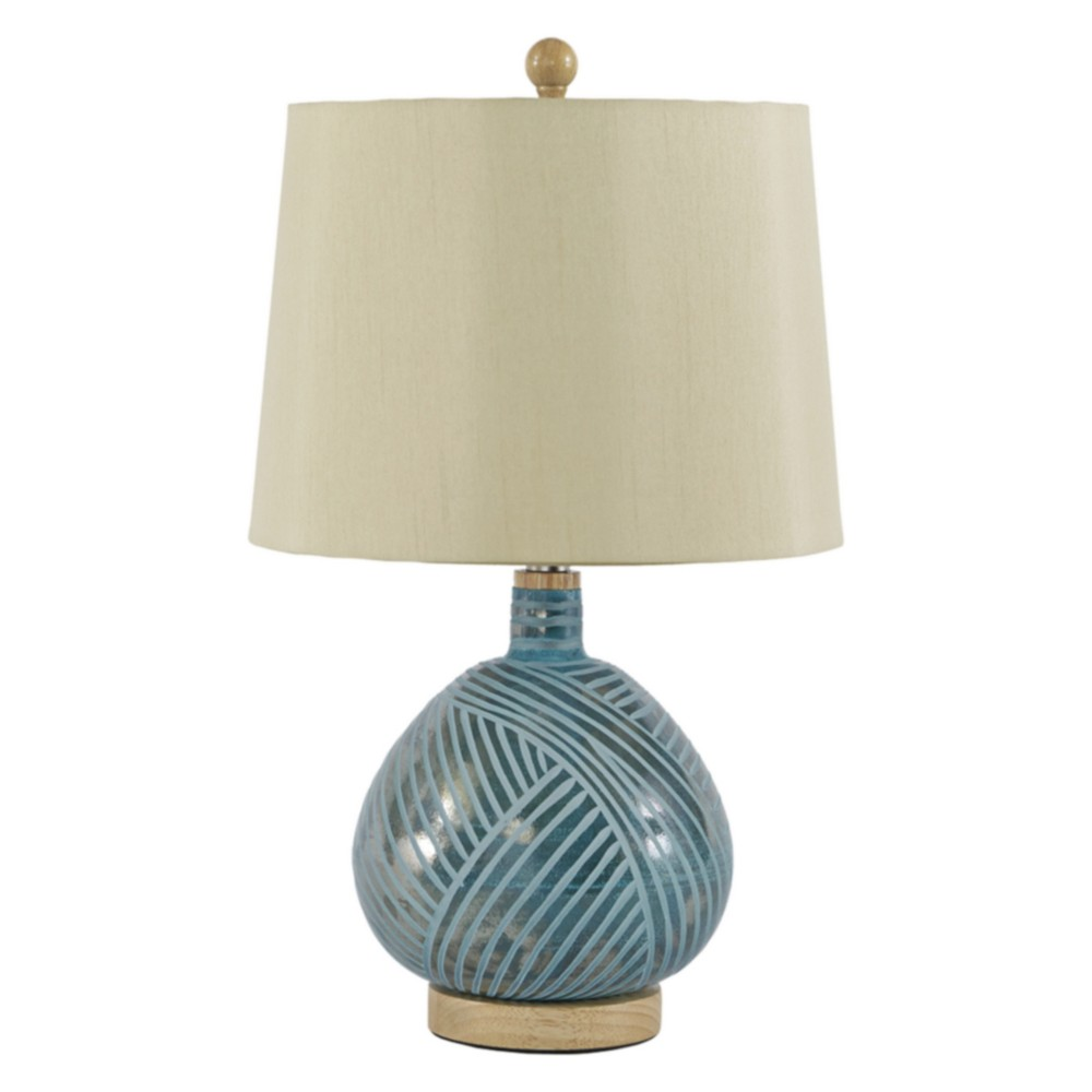 Jenaro Glass Table Lamp English Teal (Lamp Only) - Signature Design by Ashley