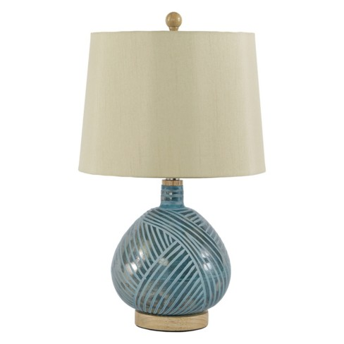 Jenaro Glass Table Lamp English Teal Lamp Only Signature Design