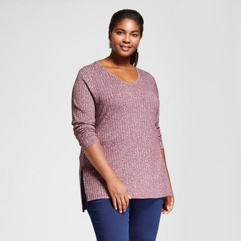 5fa28e20332 Women s Plus Size Ribbed Long Sleeve Tee - Ava   Viv™ Opulent Red 4X ...