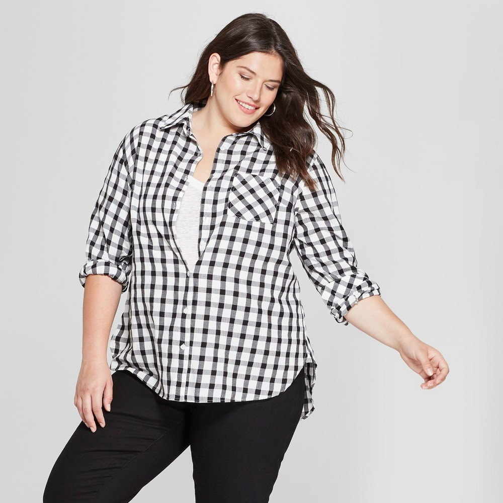 Women's Plus Size Long Sleeve Plaid No Gap Button-Down Shirt - Ava & Viv Black/White X, Gray