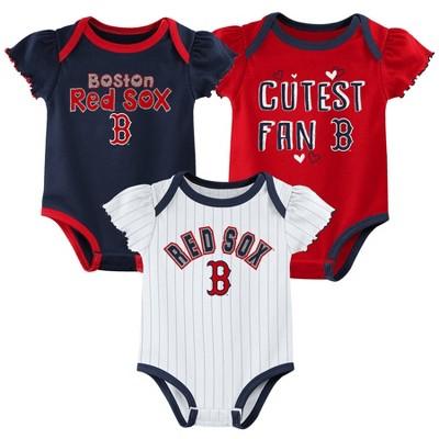 MLB Boston Red Sox Baby Girls' 3pk Bodysuit Set