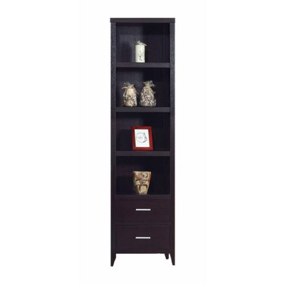 Well Designed Media Tower With Display Shelves Dark Brown - Benzara