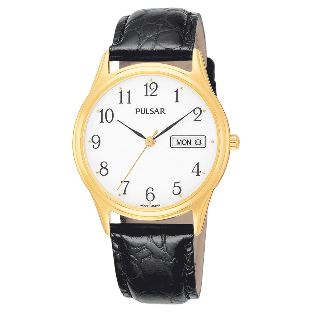 Men's Pulsar Day/Date Watch - Gold Tone with White Dial and Black Leather Strap - PXN080